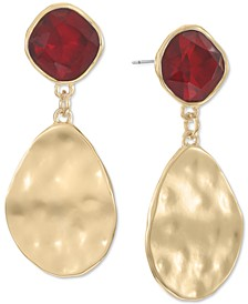 Gold-Tone Stone & Hammered Disk Drop Earrings, Created for Macy's