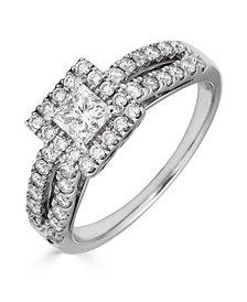 Diamond Princess Cut (1 ct. t.w.) Ring in 14K White Gold