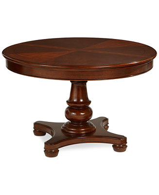 Bordeaux pedestal round expandable dining table for Macys dining table