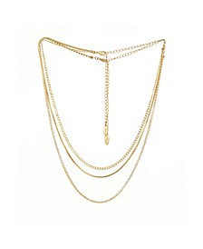 Simple Crystal Chain Necklace Set of 2