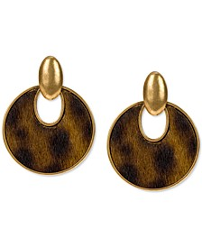 Gold-Tone Calf-Hair Leather Doorknocker Drop Earrings