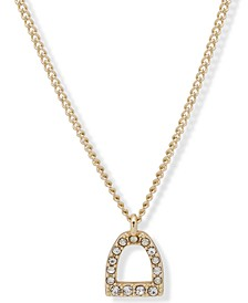 "Gold-Tone Pavé Stirrup Pendant Necklace, 16"" + 3"" extender"
