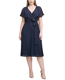 Plus Size Pleated Chiffon Midi Dress