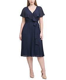 Plus Size Pleated Chiffon Midi Dress