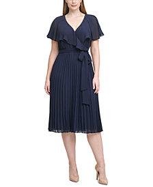 Jessica Howard Plus Size Pleated Chiffon Midi Dress