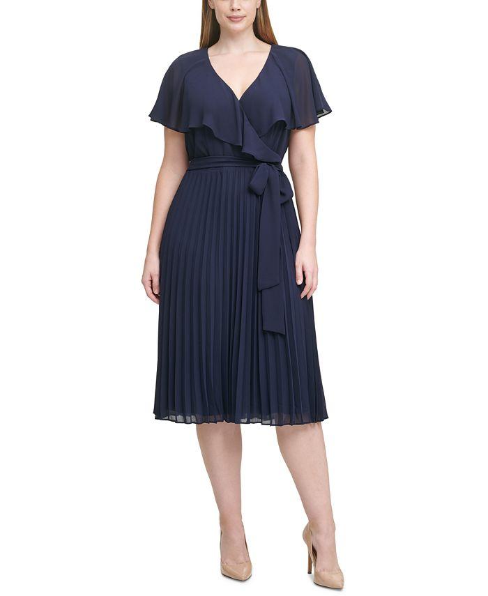 Jessica Howard - Plus Size Pleated Chiffon Midi Dress