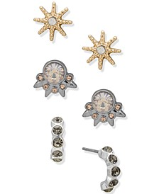 Tri-Tone 3-Pc. Set Stud Earrings