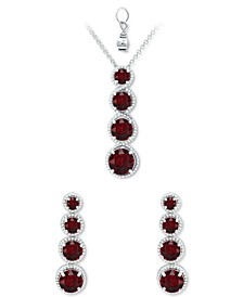 2-Pc. Set Rhodolite Garnet Graduated Pendant Necklace & Matching Stud Earrings Set (6-1/2 ct. t.w.) in Sterling Silver (Also in Amethyst, Blue Topaz, Peridot & Multi-Stone)