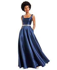 Juniors' Embellished Belt Gown, Created for Macy's