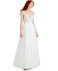 Juniors' Embellished Illusion-Back Gown, Created for Macy's