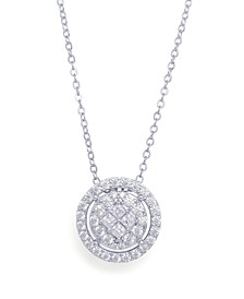 Cubic Zirconia Round Halo Pendant Necklace in Fine Silver Plated