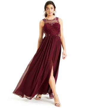 Juniors' Embellished Lace-Top Gown