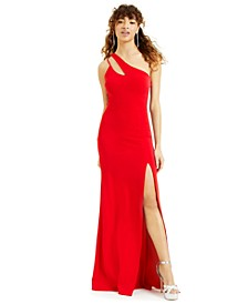 Juniors' Cutout One-Shoulder Gown
