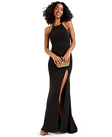 Juniors' Lace-Up Scuba Crepe Gown