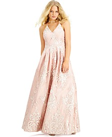 Juniors' Embroidered Overlay Gown, Created for Macy's