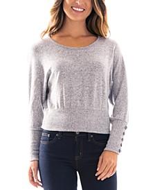 Juniors' Button-Sleeve Banded-Hem Sweater