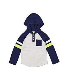 Little Boys Long Sleeve Pocket Color Block Hooded T-shirt