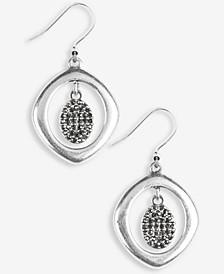 Silver-Tone Pavé Charm Orbital Drop Earrings
