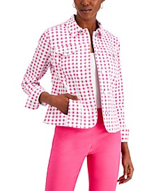 Check-Print Classic Denim Jacket, Created for Macy's