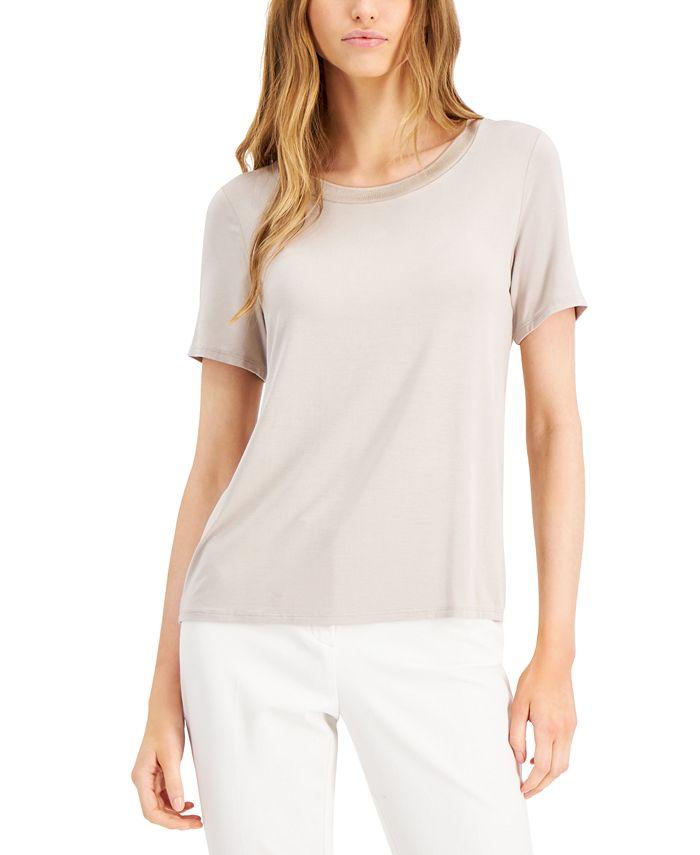 Alfani - Crewneck Sweater-Trim T-Shirt