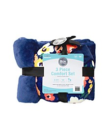 3-PC Travel Pillow, Blanket, Eye Mask Comfort Kit