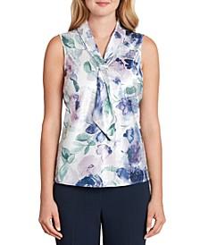 Sleeveless Printed Tie-Neck Top