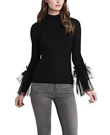 Women's Tulle Sleeve Top