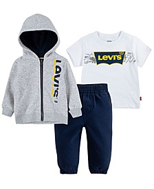 Baby Boys T-Shirt, Joggers and Zip Hoodie Set