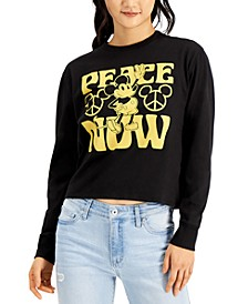 Mighty Fine Juniors Disney Mickey Mouse Peace Long Sleeve Top