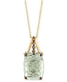 """Mint Julep Quartz (9-3/4 ct. t.w.) & Diamond (1/3 c.t t.w.) 18"""" Pendant Necklace in 14k Gold"""