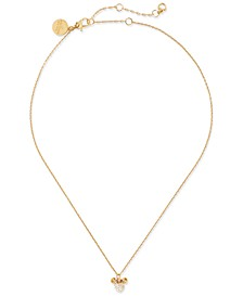 "Two-Tone Pavé Minnie Pendant Necklace, 16"" + 3"" extender"