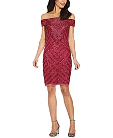 Off-The-Shoulder Embellished Sheath Dress
