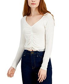 Juniors' Ruched-Front Lace-Hem Top