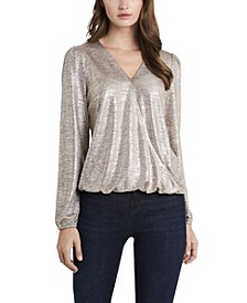 Women's Fold-over Front Lurex Jersey Top