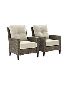 Rockport Outdoor Wicker 2 Piece High Back Armchair Set