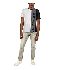 Men's Soft Split Color Block with Large Logo T-shirt