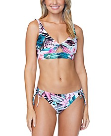 Juniors' Eco Capsule Haute Bloom Twist-Front Bikini Top & Side-Tie Bikini Bottoms