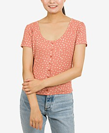 Juniors' Button-Trimmed Rib-Knit Top