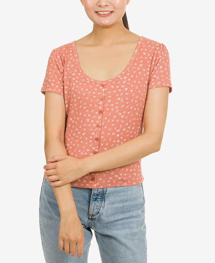 Hippie Rose - Juniors' Button-Trimmed Rib-Knit Top
