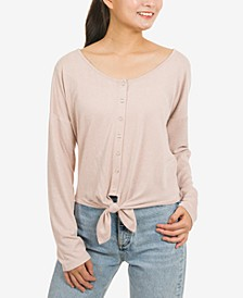 Juniors' Button-Front Tie-Hem Top