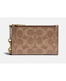 Coated Canvas Signature Zip Chain Card Case