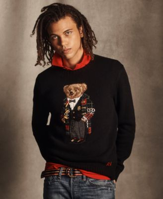 Men's Polo Bear Quarter-Zip Sweater