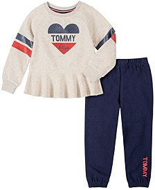 Little Girls 2 Piece Fleece Top and Pant Set
