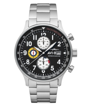 Men's Hawker Hurricane Classic Chronograph Panda Black with Silver Tone Stainless Steel Bracelet Watch