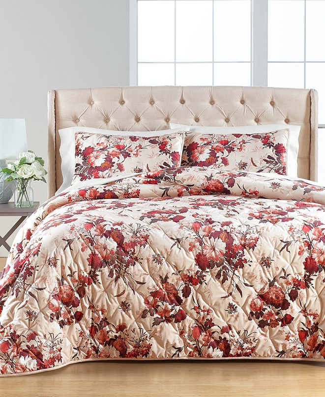 Martha Stewart Collection Gilded Floral Velvet Full/Queen Quilt, Created for Macy's