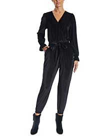Pleated Velvet Jumpsuit