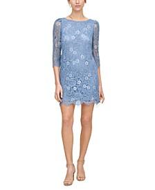 Petite Two-Tone Lace Shift Dress