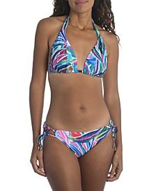 Printed Halter Bikini Top & Adjustable Hipster Bikini Bottoms