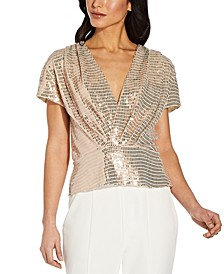 Petite Foil-Knit Surplice Top