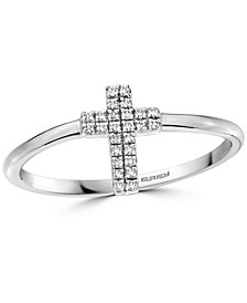 EFFY® Diamond Cross Ring (1/20 ct. t.w.) in Sterling Silver